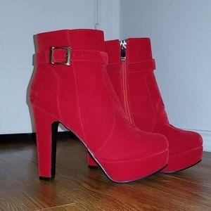 "Stylish Red 4"" Heeled Booties"